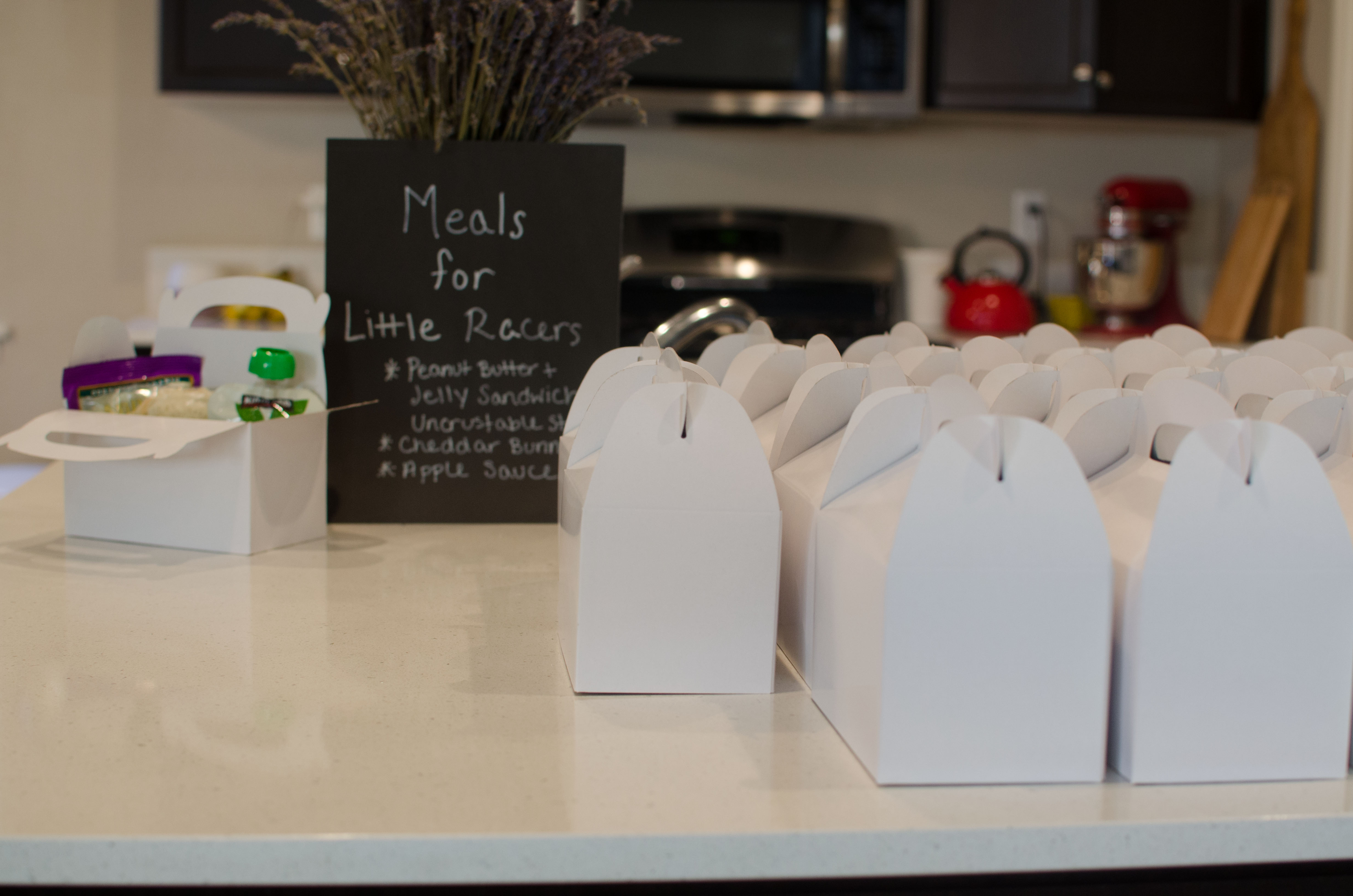 Individual Lunch Boxes for Toddler Birthday Party. Perfect for any theme. Our theme was vintage race car birthday party